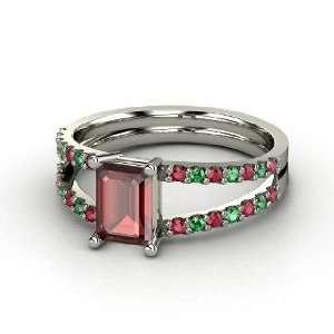 Samantha Ring, Emerald Cut Red Garnet 14K White Gold Ring