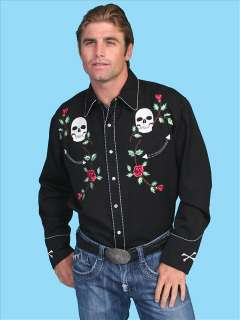 Scully Mens Western Fancy Skulls & Roses Embroidery Snap Vintage Shirt