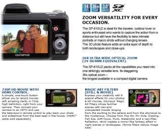 Olympus SP 810UZ Silver 36x Zoom Digital Camera New + 4GB + CASE BAG