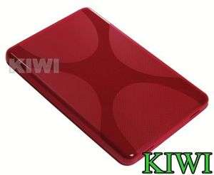 Clear Screen LCD Protector + Red X LINE TPU Soft Skin Case Cover For