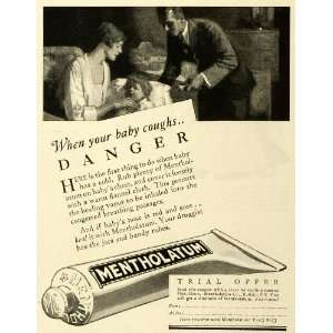 1927 Ad Mentholatum Co Congestion Cold Sick Baby & Mother