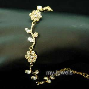 Bridal Fashion Flower Crystal Gold Plated Bracelet B010