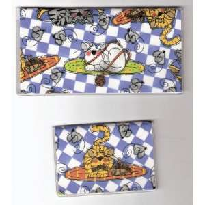 Checkbook Cover Debit Set Cat and Mouse Blue Checker