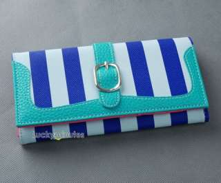 pcs in 5 Color Mixed Color Lady Stripes Long Wallet Purse Coin Bag