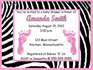 Girl Pink Feet Zebra Print Baby Shower Invitations