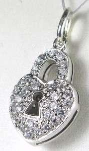 Silver 1.32ct Diamond Cut White Sapphire Heart Lock Pendant 4.8g