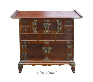 Korean Multiple Drawers Burl Wood Inlay End Table Cabinet WK2073