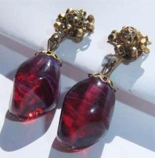 VINTAGE MIRIAM HASKELL ART GLASS BEAD DANGLE EARRINGS