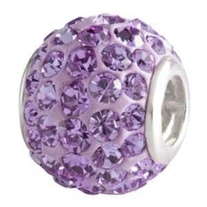 Silver CZ Razzle Dazzle Purple Bead Charm BM001 7 Silverado Jewelry