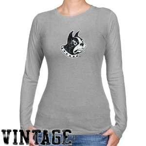 NCAA Wofford Terriers Ladies Ash Distressed Logo Vintage Long Sleeve