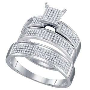 WHITE GOLD 0.53CTW DIAMOND MICRO PAVE TRIO SET  Size 7 For Her Size