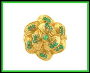 18K Solid Yellow Gold Green Emerald Cocktail Ring Italy