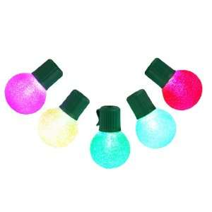 Set of 10 LED Multi Color G30 Sugared Christmas Lights   Green Wire