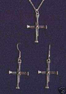 Christian Jewelry Nail Cross Earring, Necklace set