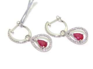 14kt White Gold 1ct Ruby Diamond Cluster Dangle Drop Earrings