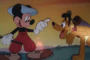 Disney Animation Art Cel Hand painted golf Mickey Pluto