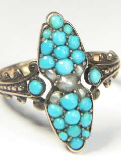 QUALITY ANTIQUE 18K GOLD TURQUOISE PEARL RING c1880