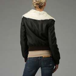 Levis Womens Dark Brown Faux Leather Bomber Jacket