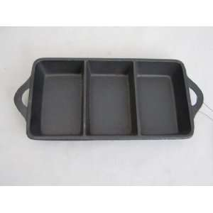 Cast Iron Rectangle 3X6 inch Triple Serve Dish 10193 Home & Kitchen