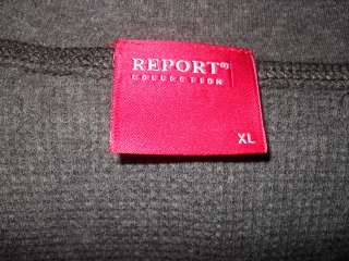 REPORT collection Gray Cotton Waffle L/S Sweater Sz XL |