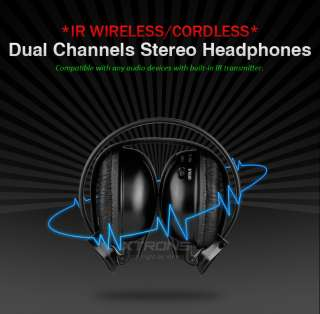 Dual Channel Infrared Wireless IR Foldable Headphones