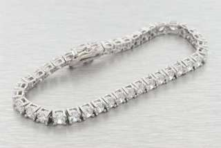 14K WHITE GOLD PLATED 8 SIMULATED LAB DIAMOND BRACELET PAVE 1 ROW