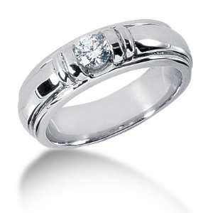 Ring Wedding Band Round Cut Channel 14k White Gold DALES Jewelry