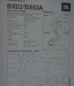 JBL BX63 & BX63A ELECTRONIC CROSSOVER TECHNICAL MANUAL