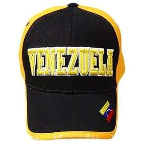 VENEZUELA ORANGE BLACK BASEBALL CAP HAT EMBROIDERED ADJ