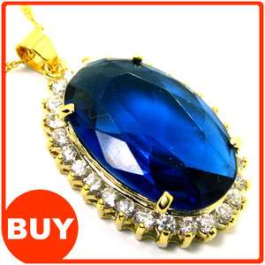 Fashion Jewelry Oval Cut Blue Sapphire Yellow Gold GP Pendant Necklace
