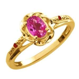 0.57 Ct Oval Pink Mystic Topaz Red Garnet Yellow Gold