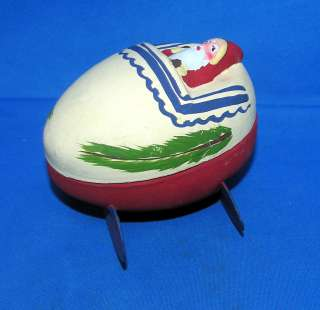 RARE VTG PAPER MACHE SANTA IN EGG CRADLE GERMAN XMAS CANDY CONTAINER