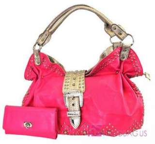 Pink Western Rhinestone Belt Purse Hobo Bag Wallet SET