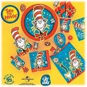 CAT IN THE HAT PARTY SUPPLIE HATS INVITE TABLECOVER BANNER GAME LIDS