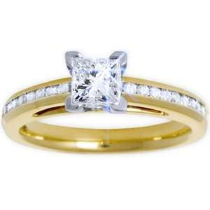 25 Carat Princess Cut Diamond 14k Yellow Gold Pre set Engagement Ring