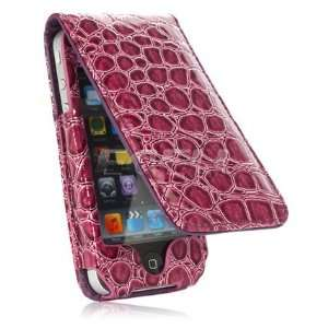 PURPLE CROCO LEATHER FLIP CASE FOR APPLE iPHONE 4 4G Electronics