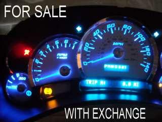 03 06 BLUE LED ESCALADE 140mph WHITE GAUGE DASH CLUSTER