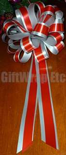 10 PULL BOWS RED SILVER RIBBON WEDDING PEW CHAIR CHRISTMAS GIFT WRAP