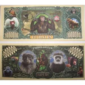 Set of 10 Bills Primates Monkey Million Dollar Bills Toys & Games