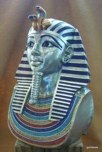 King Tut Bust 7 Hand Painted Silver New Gorgeous