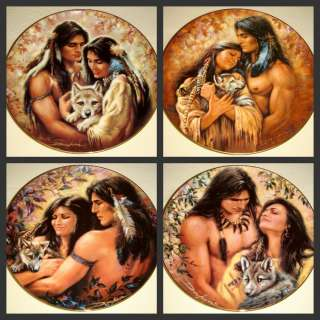 SET Russ Docken Natures Love Native Couple & Wolf Pups Plates +COAS Vy