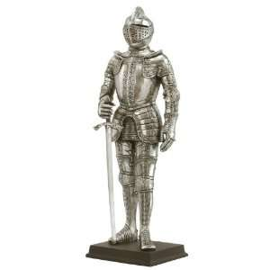 Silver Medieval Armor Sword in Right Hand Sculpture