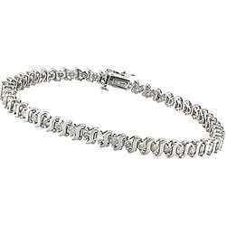 10k White Gold 2ct TDW Diamond Tennis Bracelet (I J, I3)
