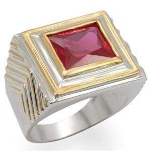 12 Square Ruby Cubic Zirconia Brass Reverse Two Tone Ring AM Jewelry