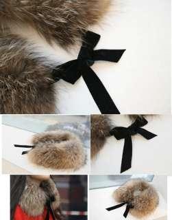 Fashion Women Lady Bow Faux Fur Scarf Boa Wrap Collar With Strips