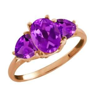Ct Genuine Oval Purple Amethyst Gemstone 14k Rose Gold Ring Jewelry