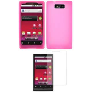 for Motorola TRIUMPH WX435 PINK Silicone Skin Case+Screen Protector
