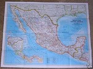 National Geographic MAP December 1980 AZTEC, MEXICO +