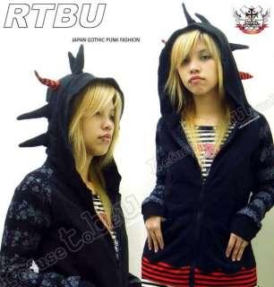 Gothic Punk emo SPIKY HAIR UFO Hooded Sweatshirt Jacket
