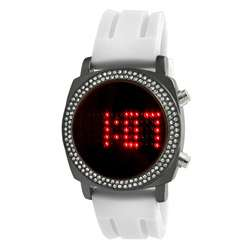 Crystalized Milano Digital White Rubber Strap Watch